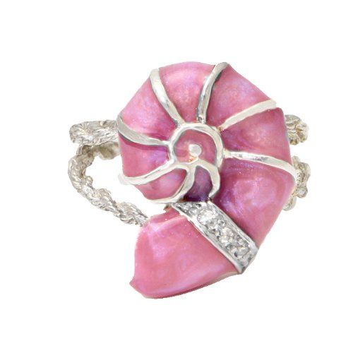 Nautilus Shell Diamond Sterling Ring Pink Enamel Size 7 1/2