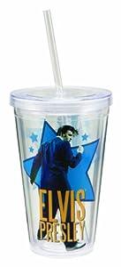 Vandor 47451 Elvis Presley 18 oz Acrylic Travel Cup with Lid and Straw, Multicolor