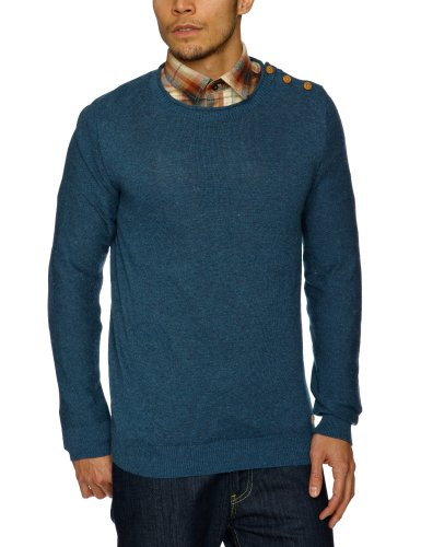 Selected Nolan Split Crew Neck Men's Jumper Ensign Blue Large