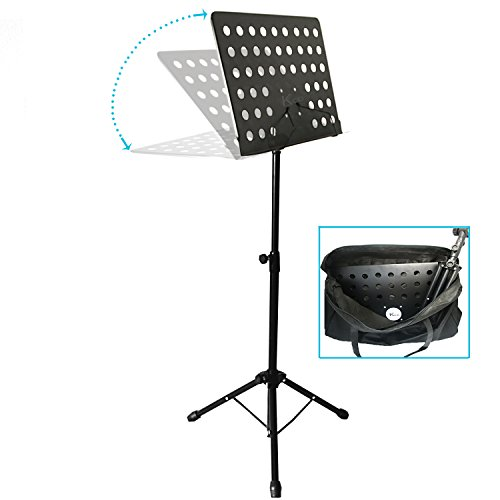 Music Stand for Sheet Music is a Black Stands & Portable for Instrument books & Holders with Bag Piano Guitar Violin Flute Clarinet (Dj Rack Mount Brackets compare prices)