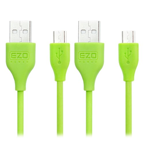 Ezopower 2-Pack Green Micro-Usb 2In1 Sync And Charge Usb Data Cable (6 Feet + 10 Feet) For Samsung Galaxy Tab S 10.5/ 8.4, Galaxy Tab 4/ 3, Galaxy Tab 3 Lite, Galaxy Notepro 12.2, Galaxy Tabpro 12.2/ 10.1/ 8.4 Tablet Cellphone Smartphone And More