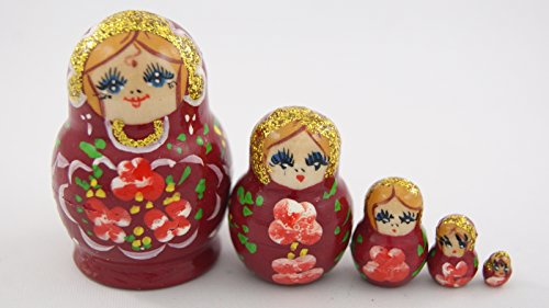 [Small Toy 5pcs Nesting Dolls Wooden Gift Handmade Madder Lake Red with Red Flowers] (Babushka Doll Costume)