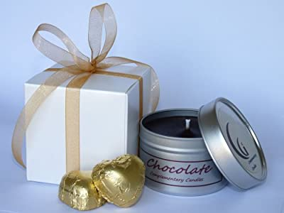 Chocolate Scented Candle Gift With Champagne Chocolate Hearts from Complementary Candles