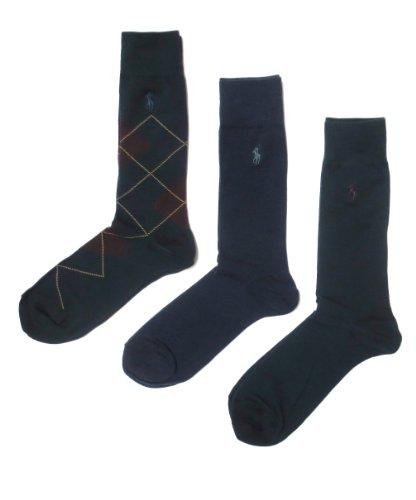 Polo Ralph Lauren Set Of Three Men'S Argyle Dress Sock (Size 10-13) (Hunter Green/Navy)