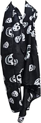 Womens Fashion Skull Smooth Stunning Scarf - Black & White