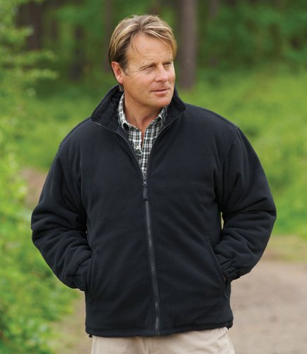 Mens Champion Glen Country Clothing Padded Quilt Lined Fleece Jacket Black 2XL