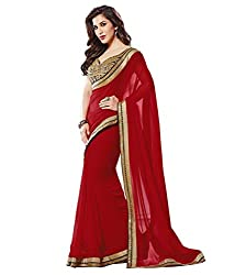 Pragati fashion Hub Red Faux Georgette Saree