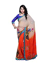 Aaliyah Women's Georgette Saree With Blouse Piece(Multi-Coloured) - B00XL9LD3U