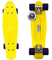 "Fish Skateboard Yellow 22"" Urban Retro Cruiser Purple Wheel / Silver Truck"