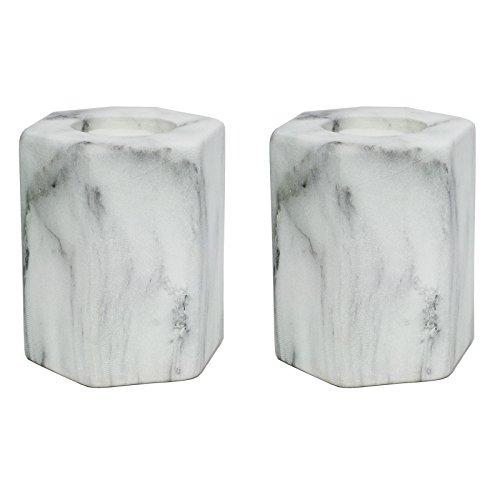just-contempo-carrara-hexagon-tea-light-candle-holder-stone-white-set-of-2