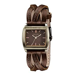 Kahuna Women's Quartz Watch with Brown Dial Analogue Display and Brown Leather Strap KLS-0208L