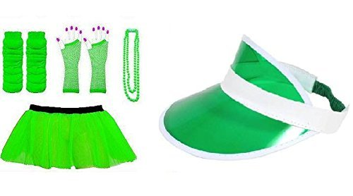 (RB Fashions Clothing)1980's Neon Five Piece's Adult Fancy Dress Tutu Set Tutu,Sun Visor ,Fishnet Gloves,Legwarmers,Beads Hen and Stag Night Party (Green) by RB Fashions (1980 Fancy Dress Outfits)