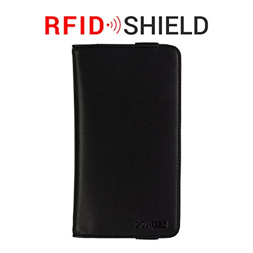 Click to buy SOJITEK LENOVO A316I Handmade Black Genuine Leather Wallet Case with RFID Blocking Technology Protection , ELASTIC Closure Book Style / Card Holder / ID for Men & Women - From only $21.99