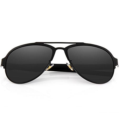 Menton Ezil Mens Black Aviator Shades Thin Metal Frame Polarized Under 20 Sunglasses For Driving