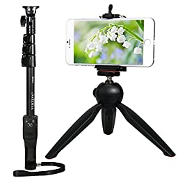 Yunteng 1288 Extendable Monopod + Yunteng Mini Tripod + Removeable Remote Shutter + Phone Holder Mount + Adapter for iPhone 6plus 6 5s 5g S4 Note 2 3 4 LG Sony HTC and 1/4 screw hole Cameras
