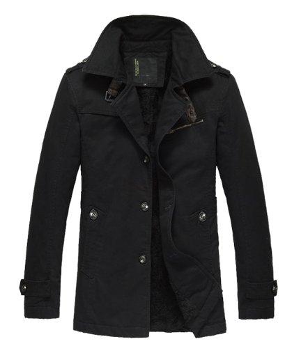 Men's Casual Winter Thick Jackets & Coats Fur Lining LZX-6306 (US Medium (Asia XL), Black)