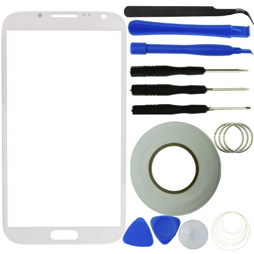 Samsung Galaxy Note 2 Screen Replacement Kit Including 1 Replacement Screen Glass For Samsung Galaxy Note Ii / 1 Pair Of Tweezers / 3 Pre-Cut Adhesive Stickers / 1 Tool Kit / 1 Eco-Fused Microfiber Cleaning Cloth (White)