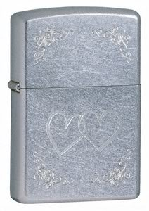 Zippo Cigarette Lighter, Heart to Heart, Street Chrome, Personalised FREE, Birthday, Wedding Gift