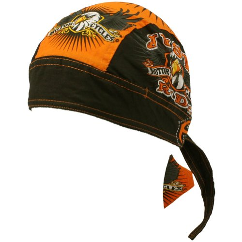 Just Ride Motorcycle Biker Bandana Headwrap Headscarf Adjustable Cap Hat Orange