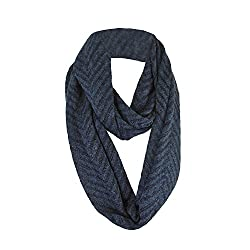 Navy Blue Chevron Medium Weight Loop Scarf for Men and Women