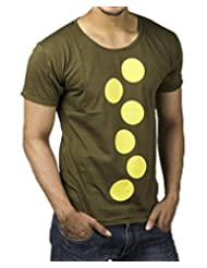 PS Army Green T-Shirt With Yellow Dot Graphic Print