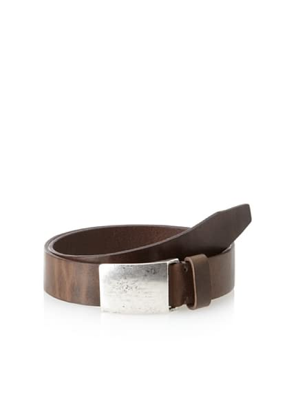 John Varvatos Collection Men&#8217;s Italian Leather Belt with Hammered Plaque
