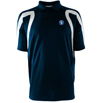 MLB Mens San Diego Padres Point Desert Dry Polo (Navy White, Small) by Antigua