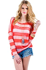 Loose Knit Striped Sweater in Pink and Red