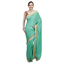Heart and Arrow women's creape bandhani embroidered saree [2018_green]