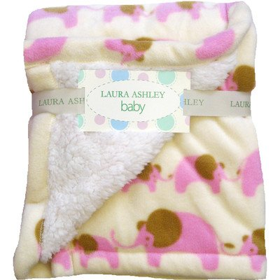 "Laura Ashley - Pink Elephant - Baby Blanket / Throw - 30"" X 36"" front-1052869"