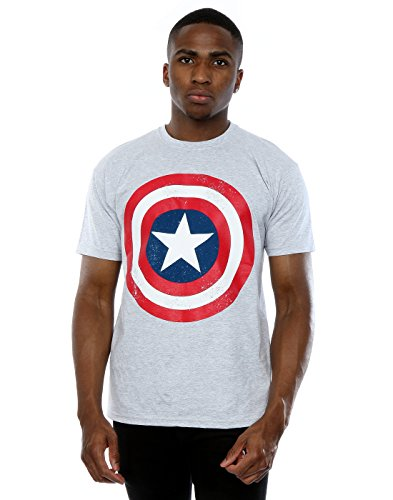 Marvel Uomo Captain America Distressed Shield Maglietta Medium Heather Grey