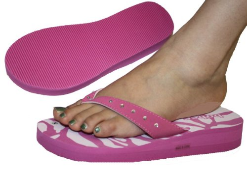 Womens Sandal Flat Beach Flip Flops Zebra With Rhinestone Strap Style Thongs Flats Pamela-23