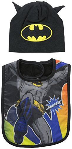 Baby-Boys Infant Batman Character Bib and Hat Set, Black, One Size - 1