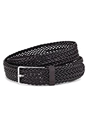 Bonded Leather Plaited Square Buckle Belt