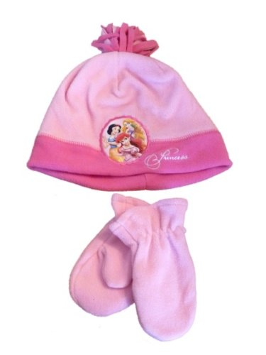 Disney Toddler Girls Pink Fleece Princess Hat & Mittens Beanie Set Snow White