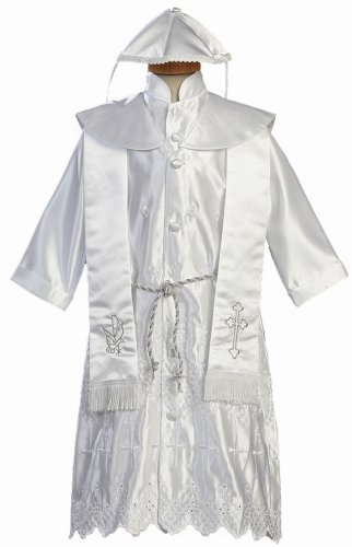 White Embroidered Satin Christening Baptism Robe with Shawl and Cap - L (9-12 Month) Coupon 2016