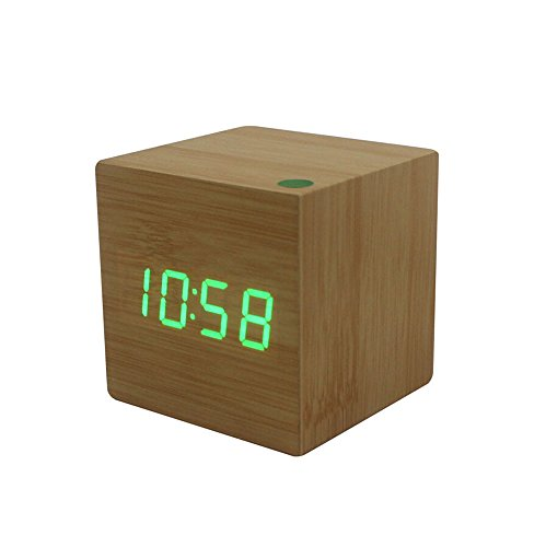 Amars(Tm) Ultra-Simple Fashion Wooden Rechargeable Alarm Clock With Usb Large Display With Temperature Date Sound Control Cube Shape 9508