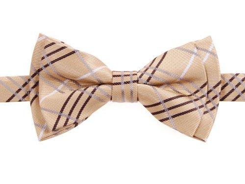 Retreez Tartan Plaid Styles Woven Microfiber Pre-Tied Boy'S Bow Tie - Gold - 6 - 18 Months