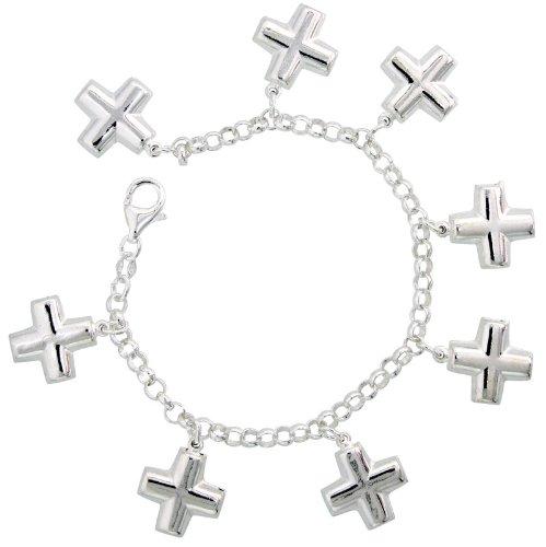 Sterling Silver Cross Pendant Bracelet, 7/8