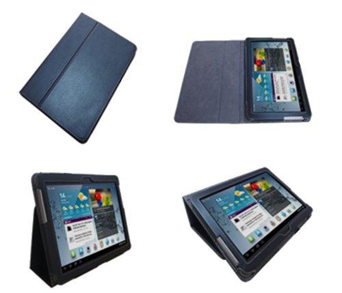 Navitech schwarze bycast Leder Case / Cover / Hülle mit einstellbarem Ständer und anti blend Bildschirmschutz für das Samsung Galaxy Tab 2 / Tab2 10.1 Zoll P5100 und P5110 Android 4.0 Gerät