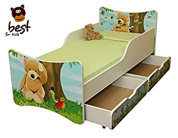 BEST FOR KIDS CHILDREN BED 90x200 - WITH TWO DRAWER S BEAR