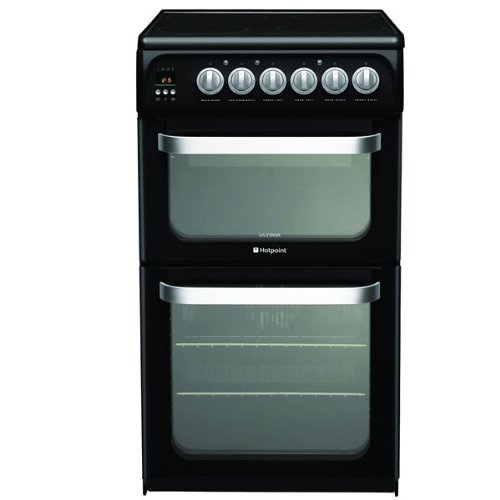 Hotpoint Ltd HUE52K ULTIMA 500mm Double Electric Oven Ceramic Hob Black