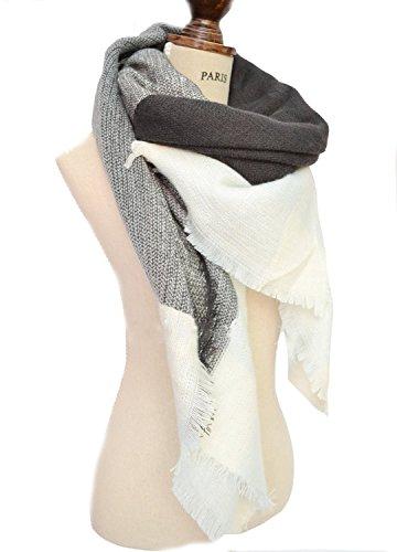 Minetom-Damen-Herbst-Winter-Schal-Oversized-Rechteckig-Schal-Decken-Schal-Weich-Warm-Karo-Poncho-Patchwork