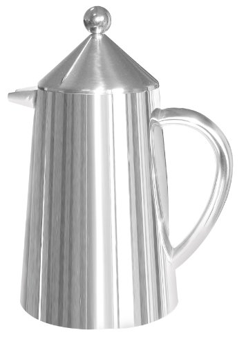 Francois Et Mimi Double Wall Conical Top French Coffee Press, 34 Ounce, Stainless Steel