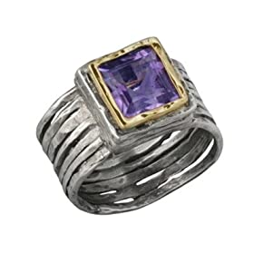 14K Gold and Silver Ribbed Amethyst Ring