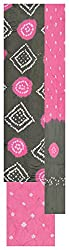 Natural handloom Women's Cotton Silk Unstitched Dress Material (Black and Pink)