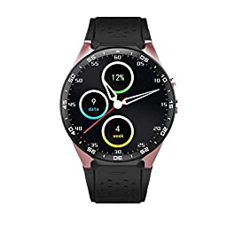 Bluetooth Smart Watch KW88 1.39 inch for Android Samsung HTC Heart Rate Monitor 5.0MP RC Camera GPS WiFi Android 5.1 (Glod)