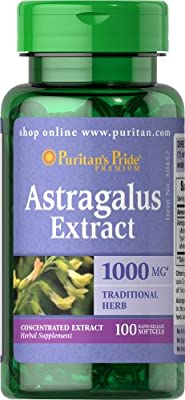Puritan's Pride Astragalus Extract 1000 mg-100 Softgels