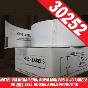 1,400 (4 Rolls) DYMO-Compatible 30252 Address Labels: 1-1/8