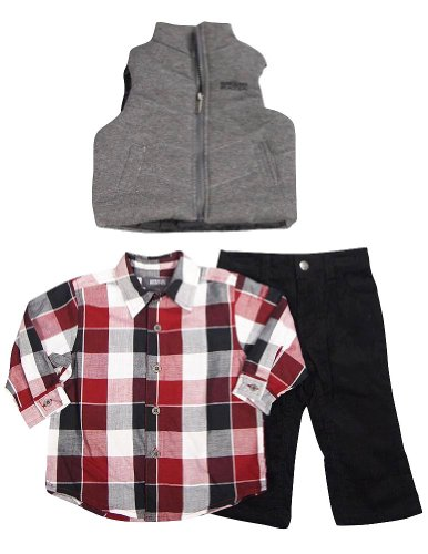Kenneth Cole Reaction - Infant Boys 3 Pc Pant Set, Charcoal, Black, Burgundy 33258-12Months
